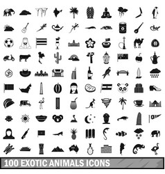 100 exotic animals icons set simple style vector image
