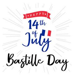 14 july bastille day france lettering banner vector