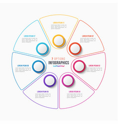 7 parts infographic design circle chart vector