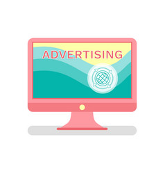 advertising in internet monitor of computer icon vector image