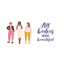 All bodies are beautiful flat plus vector