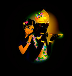 avatar images of god krishna and radha hinduism vector 24583871
