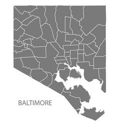 Baltimore maryland city map with neighborhoods vector