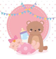 Bashower teddy bear little girl and bottle vector