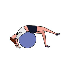 Beauty woman practicing pilates with balloon vector
