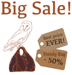 Big sale with cute owl trendy bag vector