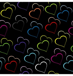 Black background with colored hearts vector image