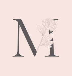 Blooming floral initial m monogram and logo vector