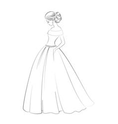 Bride model contour outline of pretty young woman vector