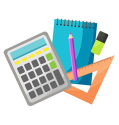 calculator and notebook with pencil and pen set vector image