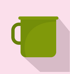 Camping metal cup icon flat style vector