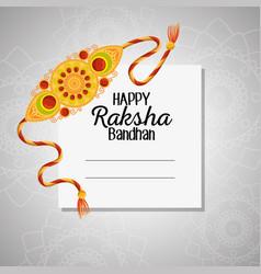 Card happy raksha bandhan with bracelet vector