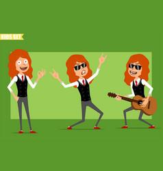 Cartoon flat redhead kid girl character set vector