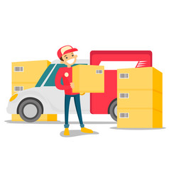 Caucasian delivery man carrying cardboard box vector