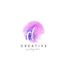 cb watercolor letter logo design with purple vector image