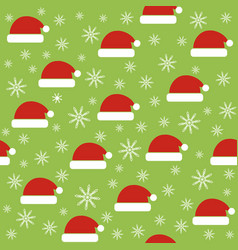 christmas seamless pattern with santa hats vector image