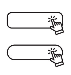 click blank button with hand pointer clicking icon vector image