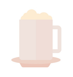 coffee mug with foam drink flat style icon vector image