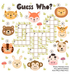 Crossword game for kids guess who activity with vector