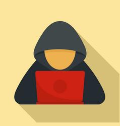 Cyber hacker icon flat style vector