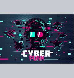 cyber punk man boy gamer portrait video games vector image