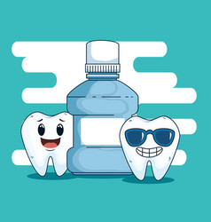 Dental teeth care with mouthwash equipment vector