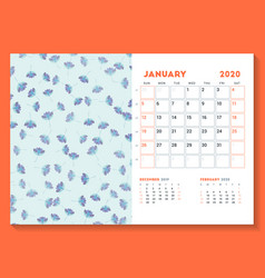 Desk calendar template for january 2020 week vector