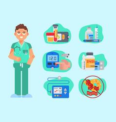Diabetes mellitus care doctor vector