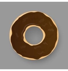 Donut with chocolate glaze isolated on grey vector