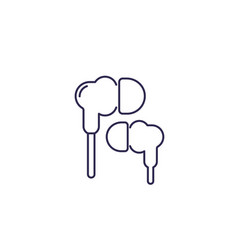 earbud headphones or earphones line icon vector image