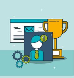 email trophy notification digital marketing vector image