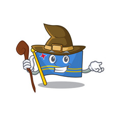 Flag aruba smiling in with cartoon witch vector
