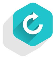 flat arrow sign reset icon hexagon button vector image