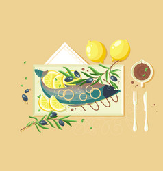 flat food with souce lemon fish green vector image