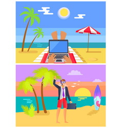 freelancers work at sandy beach in summer set vector image