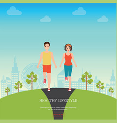 Front view of man and woman jogging together vector