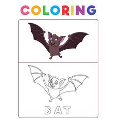Funny bat coloring book with example preschool vector