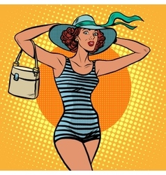 Girl retro bather vector
