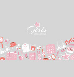 girls accessories and cloths background with vector image