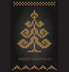 golden christmas tree and decorations on card vector image