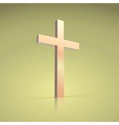 Golden cross symbol christian vector