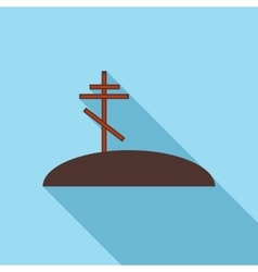 Grave with cross icon flat style vector