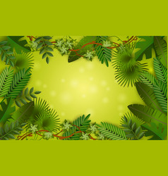 green tropical jungle frame with lush colorful vector image