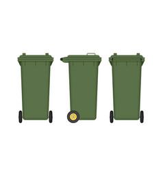 green wheelie bin isolated on white vector image