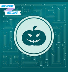 halloween pumpkin icon on a green background with vector image