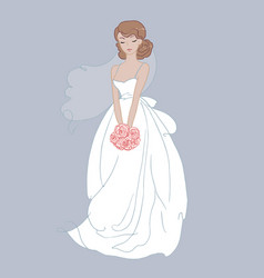 hand drawn beautiful bride with a flower bouquet vector image
