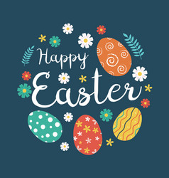 happy easter greeting card with colorful eggs and vector image