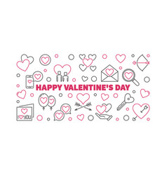 happy valentines day outline horizontal vector image