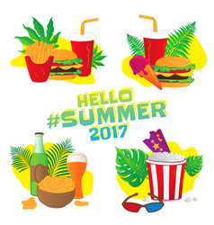 Hello summer fast food stickers with leafs vector