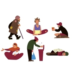 Homeless character set vector image
